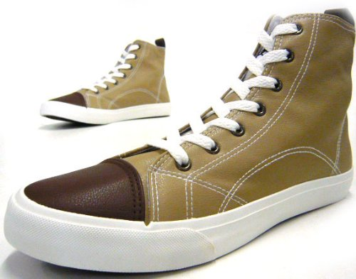 Schuh-City Herren Schuhe Schnürer High-Top Basketball Sneaker Beige