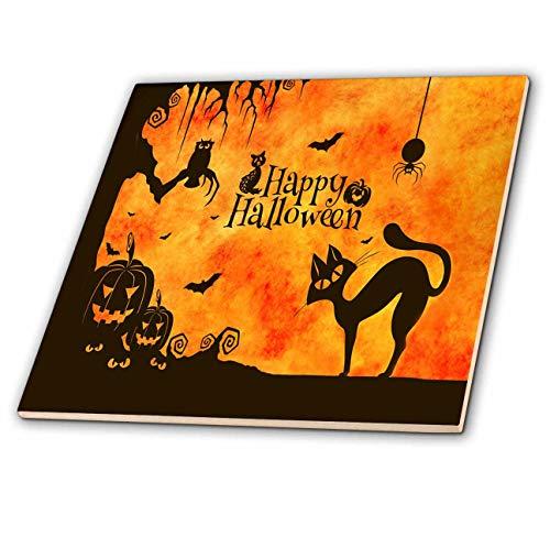 3dRose Sandy Mertens Halloween Designs - Cat, Owl, Bats, Spider, Jack o Lanterns Silhouettes, 3drsmm - 12 Inch Ceramic Tile (ct_290231_4) ()
