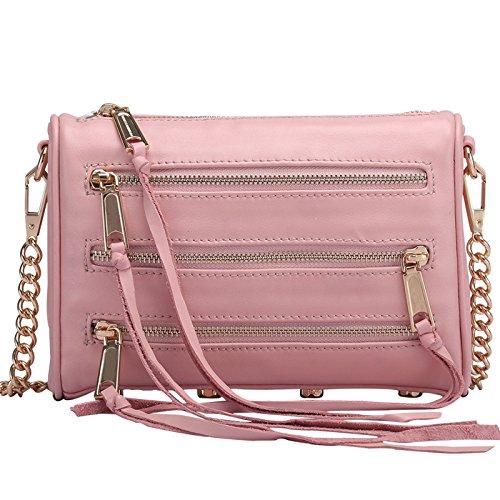 WenL Bolso De Hombro De Cuero Genuino Para Mujer Bolso De Cadena De Moda Bolso Diagonal Para Hombro,Pink-GoldChain Pink-GoldChain