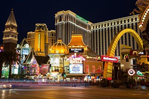 Illuminated Poster Marquees (Las Vegas Nevada Strip Illuminated at Night Venetian Palazzo Hotels Photo Art Print Poster 18x12)
