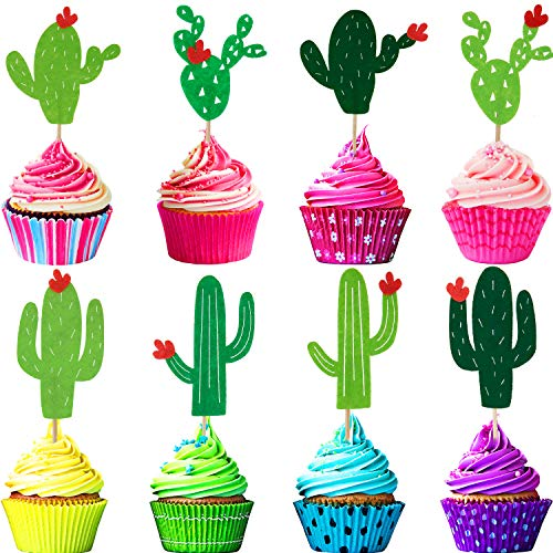 48 Pieces Hawaiian Tropical Cupcake Toppers Summer Party Cupcake Toppers Cactus Flamingo Pineapple Palm Cupcake Toppers Toothpick for Birthday Party Favors (Cactus)