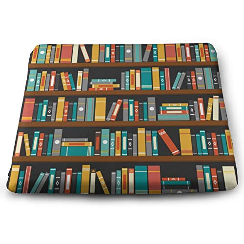 Ladninag Seat Cushion Vector of Library Book Shelf Chair Cushion Offices Butt Chair Pads for Cars/Outdoors/Indoor/Kitchens/Wheelchairs
