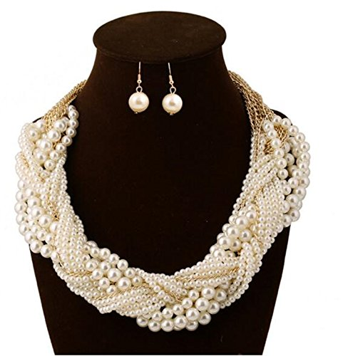 Women's Fashion Jewelry Pearl Multi-pearl Shell Necklace Chokers Chains Earring Jewelry ()