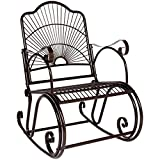Best Choice Products Antique Outdoor Patio Iron Scroll Porch Rocker Rocking Chair Deck Seat Backyard Glider - Brown