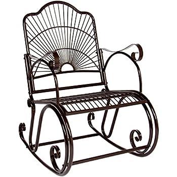 BCP Patio Iron Scroll Porch Rocker Rocking Chair Outdoor Deck Seat Antique  Style Backyard GliderAmazon com   Oakland Living Mississippi Cast Aluminum Rocking  . Oakland Living Mississippi Patio Rocking Chair. Home Design Ideas