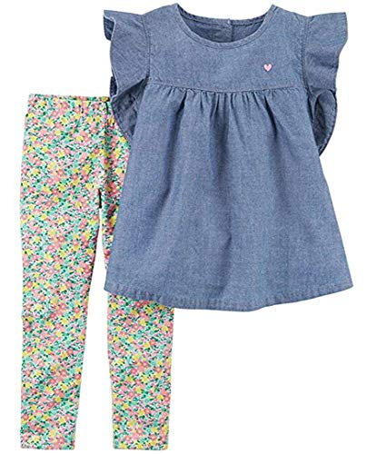 (Carter's Carters 2 Piece Chambray Flutter Top & Floral Capri Legging Set (4T), Blue/Chambray)