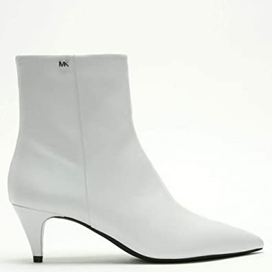 48c54c6f087c Michael Kors Blaine Optic White Leather Kitten Heel Ankle Boots 41 White  Leather