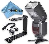 Elite Series Digital Auto Power Zoom Auto-Focus Flash + Mini Portable Folding Bracket + Off-Camera Shoe Cord + Cleaning Cloth For Canon Rebel SL1 - T3i - T5 - T5i - T6 - T6i - T6s