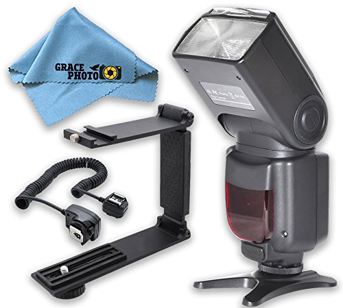 Elite Series Digital Auto Power Zoom Auto-Focus Flash + Mini Portable Folding Bracket + Off-Camera Shoe Cord + Cleaning Cloth For Canon Rebel SL1, T3i, T5, T5i, T6, T6i, T6s (Radios Para Autos Sony compare prices)