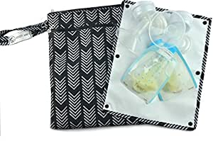 "Sarah Wells ""Pumparoo"" for Breast Pump Parts, Wet Dry Bag with Staging Mat (Black)"