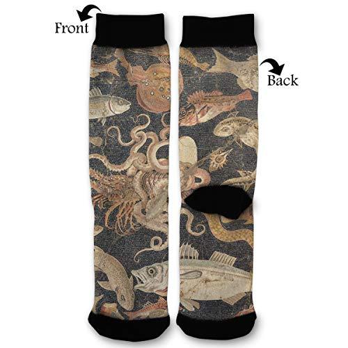 Mosaic Shark History Mural Socks Funny Fashion Novelty Advanced Moisture Wicking Sport Compression Sock for Man -