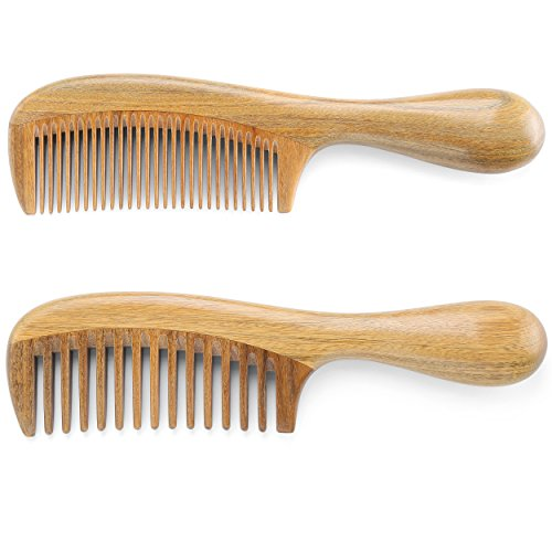 Onedor Natural Handmade Green Sandalwood Wide Tooth & Fine Tooth Hair Combs Set, Natural Sandal wood scent for Beautiful Hairs. None-Tangled Hair & Anti-Static by nature.