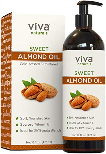 Viva Naturals Sweet Almond Oil, 100% Pure and Hexane Free, Ideal for Skin and Hair DIYs (16 fl oz) ()