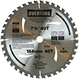 Overtime 00507 7-1/4-Inch 40 Tooth C3 Carbide Tooth Circular Saw Blade, 10 Pack