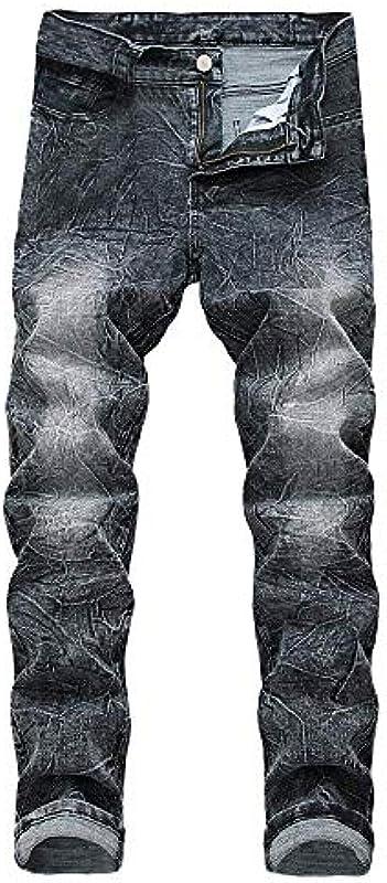 Emmay Jeanshose Basic Lang Straight Jeans Hosen Wesentlich Biker Regular Slim Jeans Vintage Wasserwäsche Used Look Destroyed Denim Pants Größe Größen Stretch Arbeitshose Cargohose Für Männer: Odzież