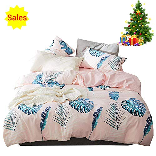 Pink Twin Bedding Sets Cotton 100 for Girls Kids Teen Reversible Checkered Duvet Cover Set with Zipper Closure Corner Ties Casual Cartoon Leaf Pattern Bed Sets, Home Textile Bedding Gift Sets, Twin