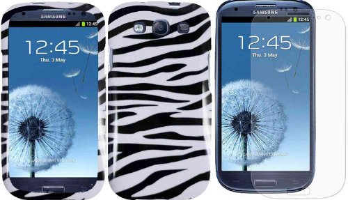 (Zebra Design Hard Case Cover+LCD Screen Protector for AT&T Samsung Galaxy S3 i9300 i747 )