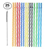 Reusable Drinking Straws - Senfhome Colorful 25 Pieces 9 Inch Thick Plastic Straw for Party or Family Use with Free Cleaning Brush.