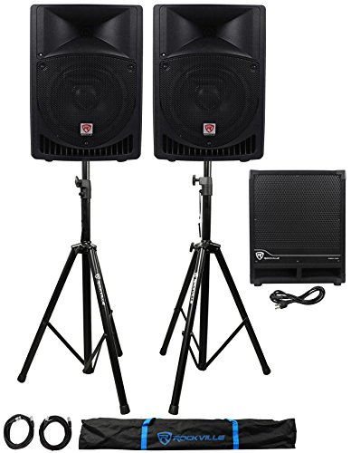 (2) Rockville RPG8 8'' Powered 400W DJ PA Speakers+Active Sub+Stands+Cables+Bag by Rockville