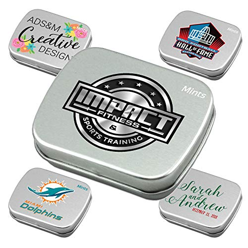 Personalized Mint Tins with Sugar-Free Peppermint Candies-Bulk 100-Piece Pack-Each Tin is Filled with About 85 Delicious Mini Candies. Custom Promotional Products for Business, Events.