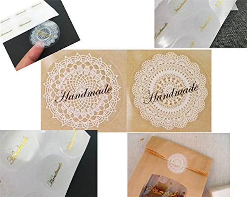 "Pack of 80 ""Hand made"" Decorative Adhesive Label 1.3"" White Lace Personalized Stickers Packaging Seals Crafts Handmade Baked Envelope Label Decorat…"