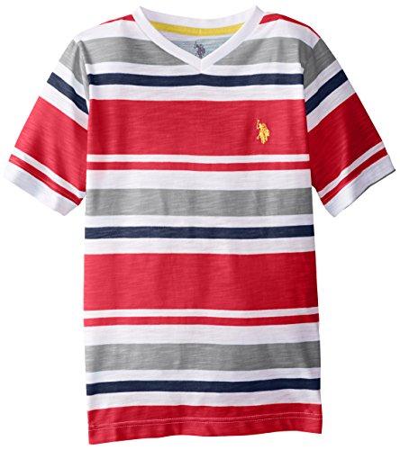 U.S. Polo Assn. Big Boys' Engineered Stripe V-Neck T- Shirt