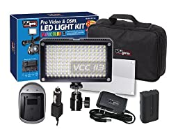 VidPro Varicolor 144-Bulb Video Light Kit Includes Battery + Charger & Adapter
