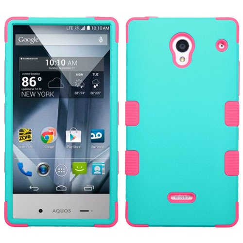 Sharp Aquos Crystal 306SH Case, Heavy Duty Tough 3 Piece Layer Combo Hybrid Armor Hard Rubberized Shell Snap On Exterior and Lightning Soft Silicone Rubber Interior Protector Cover by MEGATRONIC - Rubberized Teal Green/Electric Pink [With FREE Touch Screen Stylus Pen]
