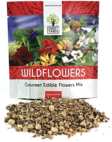 Wildflower Seeds Edible Flowers Mix - 1 Ounce Over 7,000 Open Pollinated Annual and Perennial Seeds ()