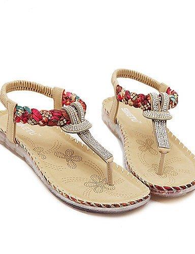 ShangYi Women's Shoes Synthetic Flat Heel Slingback Sandals Dress / Casual Black / Almond Black HtYuWfaK