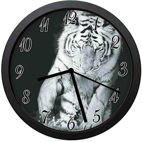 FangZhuruiw Black and White of Large Cat Playing with Water Cool Fun Hunter-Stylish Modern Round Wall Clock -10 inch,Quiet and Non-Ticking,Used to Decorate bedrooms,Offices,Kitchens,etc.
