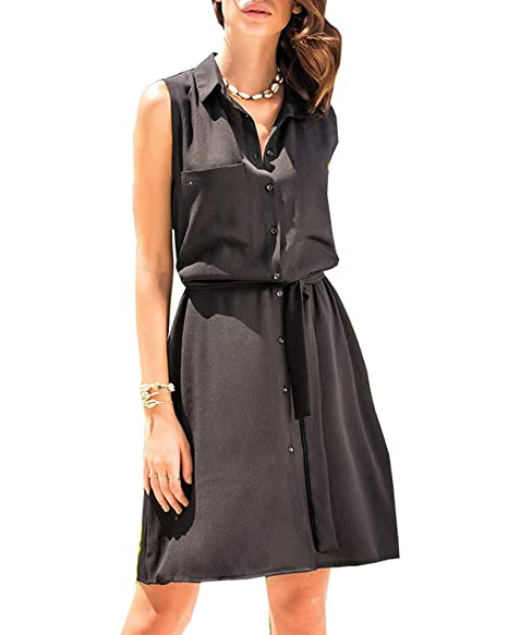 b09c786b88 Cailami Women's Casual Sleeveless Button Down Shirt Dresses Tunic Midi Dress  with Belt with Pockets at Amazon Women's Clothing store: