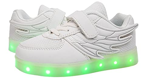 f38f1a04b2bc Christmas Kids Winged Light Up Shoes Led Sneakers Shoes for Kids Boys  Girls(Black 1