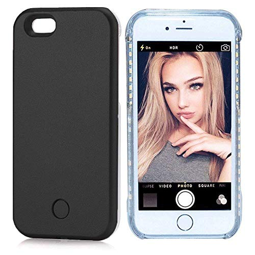 iPhone 7/8Plus case - LED Illuminated Selfie Light Cell Phone Case Cover [Rechargeable] Light Up Luminous Selfie Flashlight Case for iPhone 7/8Plus(Black 7P/8P) (Light Up Phone Case Iphone 7 Plus)
