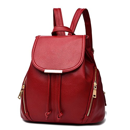 - KARRESLY Women's Mini Backpack Purse PU Leather Rucksack Purse Ladies Casual Shoulder Bag for Women (Red)