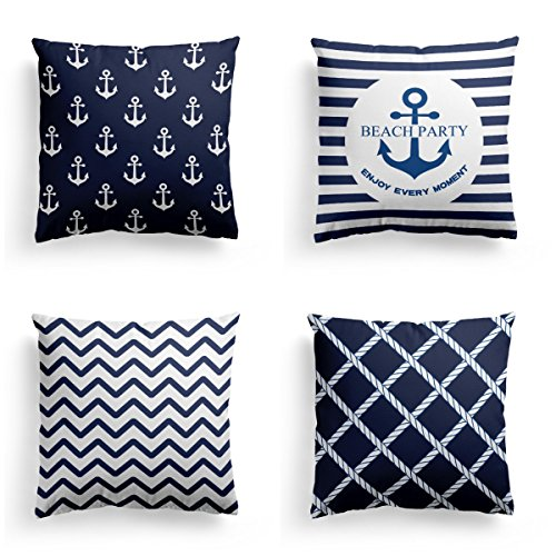 (Navy Blue Christmas Thanksgiving Decorative Throw Pillow Covers 4 pack Square Nautical Theme Velnet Standard Throw Pillow Case Set of 4 for Couch Sofa- Cushion Cover Set 18