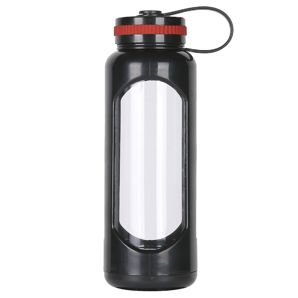 WEITINENA - Botella de agua de cristal de 1 l con tapa a prueba de fugas, sin BPA, para viajes, en casa, oficina, picnics, fitness, yoga, reutilizable, seguro para líquidos calientes, té, café, bebida diaria, color negro, tamaño talla única