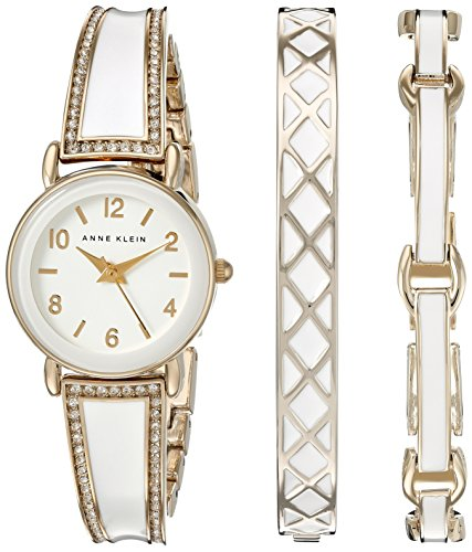 Anne Klein Women's AK/2052WTST Swarovski Crystal Accented Gold-Tone and White Watch and Bracelet Set