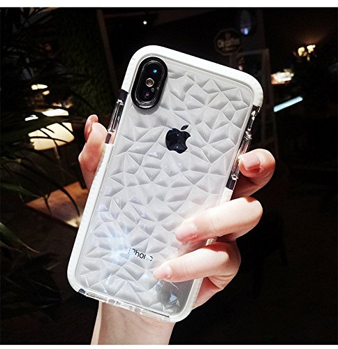 emeygroup iPhone Xs case,iPhone x case, Fashion Diamond Pattern Phone Case for Apple iPhone X Case Silicone Candy Anti Knock Shockproof Soft Clear Back Cover for iPhone 10 10s Rhinestone Case (White)