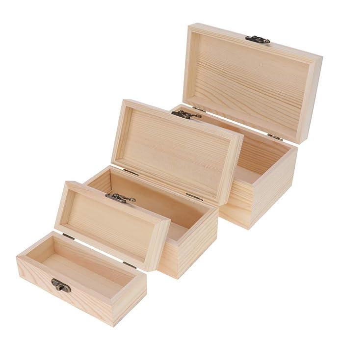 Amazon.com: Kesoto - Caja de joyería de madera sin pintar, 3 ...