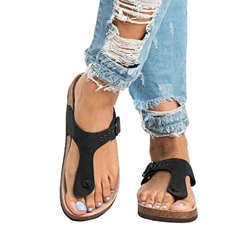 Pictures of Syktkmx Womens T Strap Flip Flops Slip 3