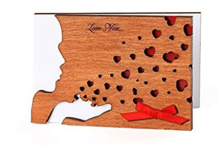 Handmade Real Wood Kiss Greeting Card Top Valentines Day Gift Wooden Keepsake Novelty Valentine Best Original