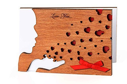 Handmade Real Wood Kiss Greeting Card Romantic Keepsake Unique Valentine Novelty Souvenir Original Birthday Present for Her Wife Girlfriend Him Husband Boyfriend Best Fathers Day Gift for № 1 Dad