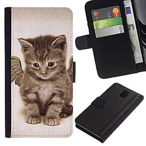 Stuss Case / Funda Carcasa PU de Cuero - Angel Kitten Baby Maine Coon - Samsung Galaxy Note 3 III