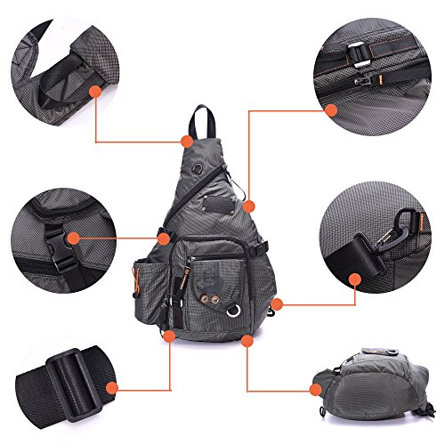 94a10fc913 DDDH Large Sling Bags Crossbody Backpack 14.1-Inch Chest Daypack Travel Bag  Book