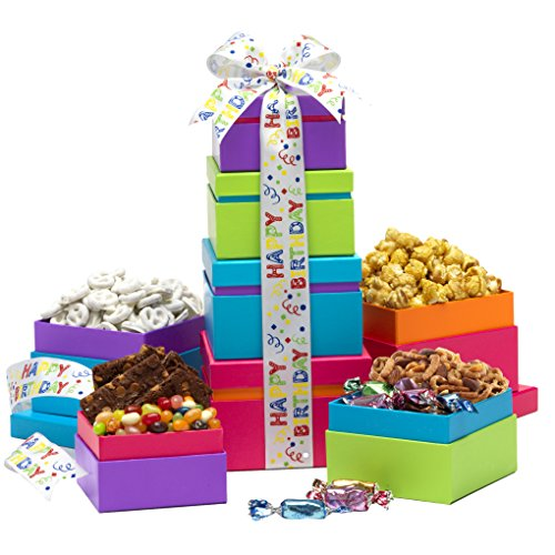 Broadway Basketeers Gift Tower, Birthday Wishes