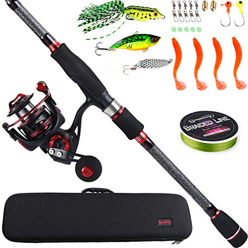 Sougayilang Telescopic Fishing Rod and Reel Combos with Lightweight 24-Ton Graphite Pole and Spinning reels