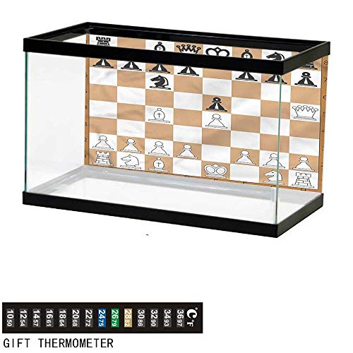 - bybyhome Fish Tank Backdrop Board Game,Classic Brown Chessboard,Aquarium Background,36