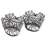 Tinksky 50pcs Halloween Spiderweb Cupcake Wrappers Liners Wedding Birthday Party Cake Decoration (Black)