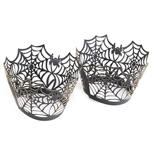 FENICAL Spiderweb Laser Cut Cupcake Wrappers Cupcake Liners for Halloween Party Cake Decoration (Black) 50pcs -